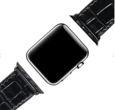 APPLE WATCH STRAP CROCO BLACK / BLACK 42mm