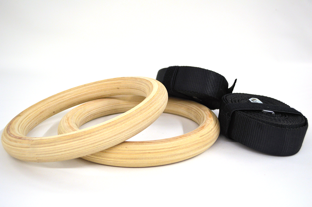 Quest Wood Gym Rings 1.25 Inch (Pair)(GYMRINGS_W)