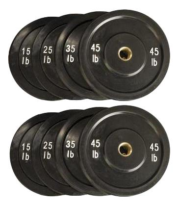 Bumper Plates Set - BLACK - Total 240 Lbs