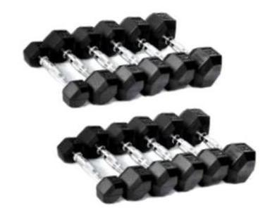 Rubber Hex Dumbbells Set (55-100 Lbs)