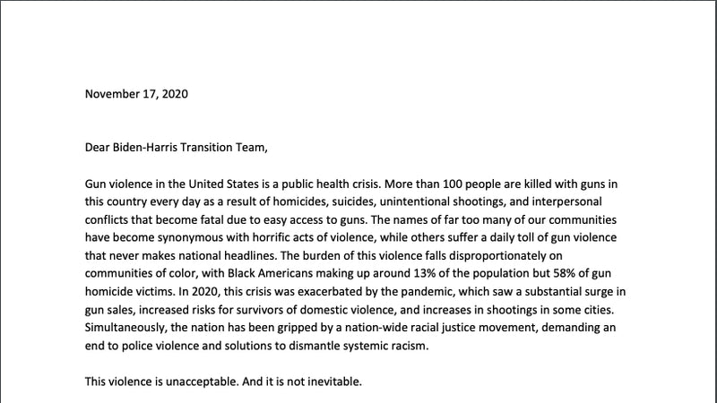 Nov. 17th, 2020 letter by 85 gun safety organizations to Biden/ Harris Transition Team     |
