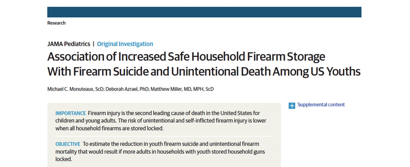 Association of Increased Safe Household Firearm Storage With Firearm Suicide and Unintentional Death Among US Youths.