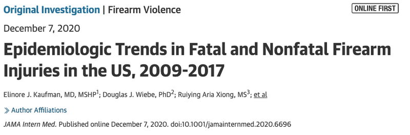 Journal of the American Medical Association (JAMA) Dec. 7th, 2020  |  Annual average of 85 694 emergency department visits for nonfatal firearm injury and 34 538 deaths from firearm injury between 2009-2017.