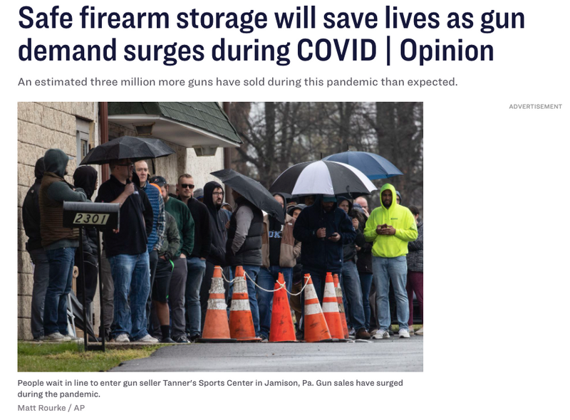 The Philadelphia Inquirer - Dec. 7th, 2020  |  Safe firearm storage will save lives as gun demand surges during COVID | Opinion.
