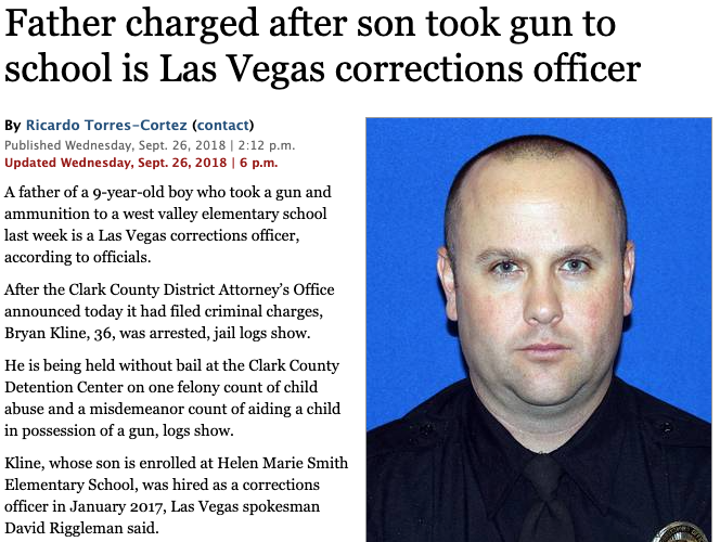 Father charged after son took gun to school is Las Vegas corrections officer.