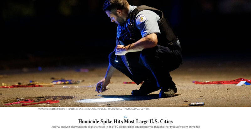 Homicide Spike Hits Most Large U.S. Cities   |  The Wall Street Journal analysis shows double-digit increases in 36 of 50 biggest cities amid pandemic, though other types of violent crime fell.   |   August 3rd, 2020
