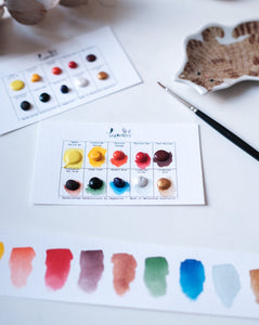 Handmade Watercolour Paint Sample Dot Cards - Mixer Set