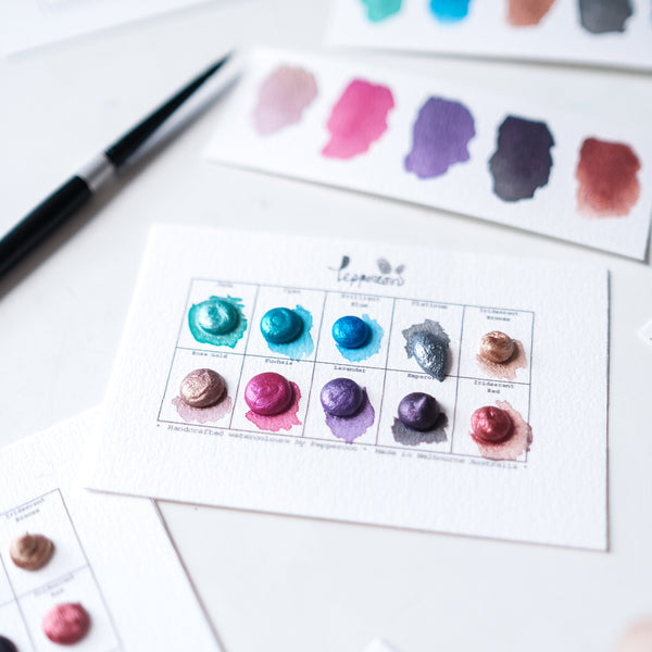 Handmade Watercolour Paint Sample Dot Cards - From Mercury to Mars Set