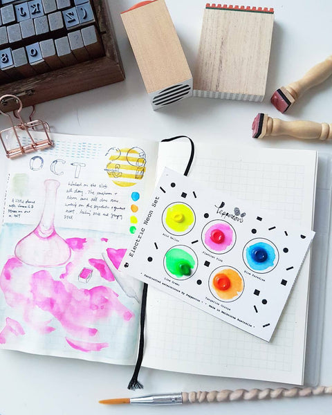 Handmade Watercolor Paint Sample Dot Cards by Peppercon ~ Neon Electric Collection
