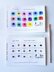 Handmade Watercolor Paint Sample Dot Cards- Secret Garden Collection