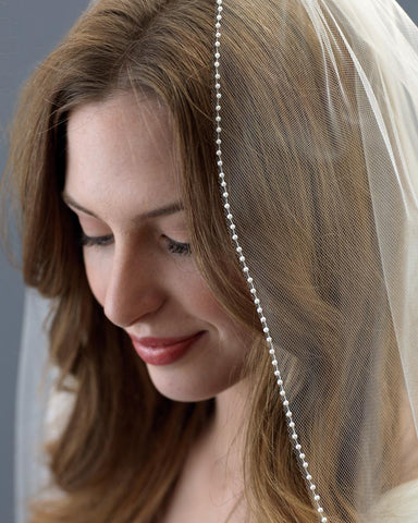 1 Layer - All Pearl Beaded Edge Wedding Veil