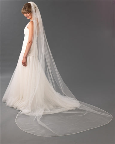 One Tier Pearl Edge Cathedral Wedding Veil