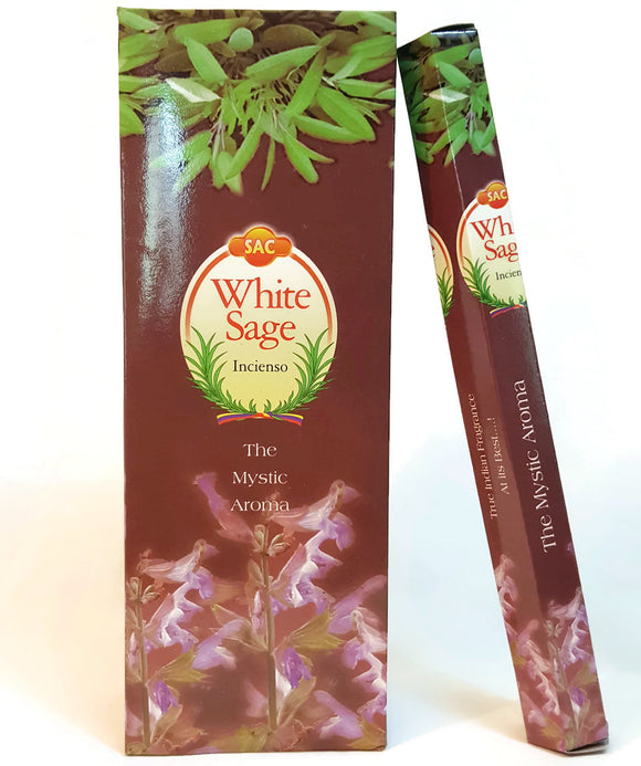 SAC White Sage - 120 Incense Sticks Six Pack Handmade in India.