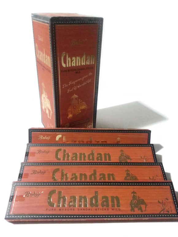 Incense SANDALWOOD BALAJI CHANDAN, Pure Mysore Sandal Sticks Mild. 1 dz box.