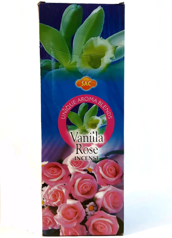 Vanilla Rose Incense, Unique Aroma Blend 120 Sticks in a Six Pack.
