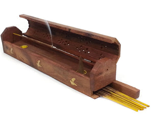 "Eagle Wooden Coffin Box 12"" L Incense Burner for Sticks and Cones."