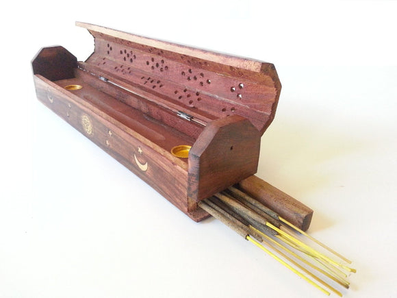 Incense Burner Sun Moon & Stars Wooden Coffin Box 12