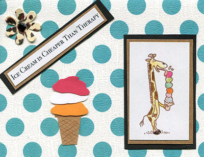 Giraffe Eating Ice Cream Rubber Stamp, Very Tall Cake Cone
