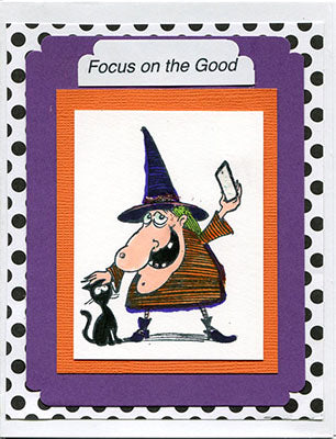 Halloween Witch Selfie Rubber Stamp, with Black Cat