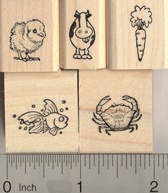 5 Tiny Rubber Stamps for Menu and Place Card Marking (Carrot, Chick, Fish, Cow, and Crab)