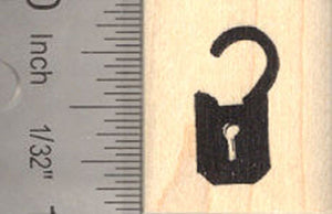 Small Padlock lock Rubber Stamp