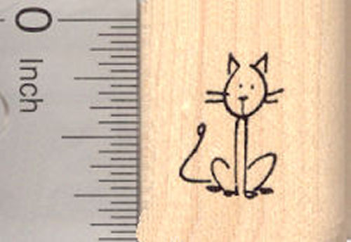 Stick Figure of Cat Rubber Stamp (Part of our Family Stick Figure Series)