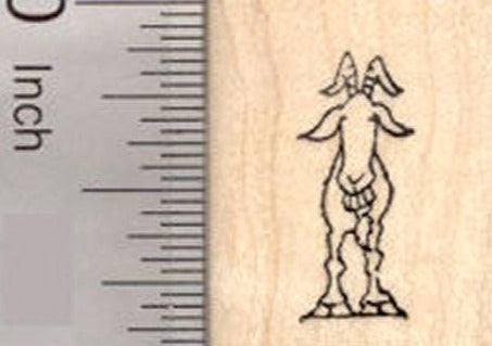 Tiny Grinning Goat Rubber Stamp