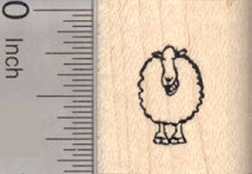 Tiny Grinning Sheep Rubber Stamp, Lamb, Ewe