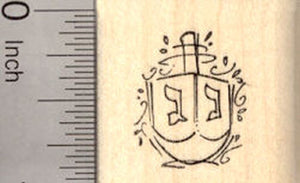 Small Hanukkah Dreidel Rubber Stamp, Chanukah Festival of Lights