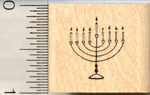 Tiny Menorah Hanukkah Rubber Stamp, Judaism
