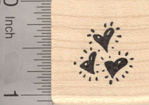 Trio of Hearts Rubber Stamp, Valentine's Day