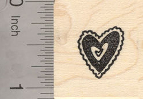 Small Valentine Heart Rubber Stamp