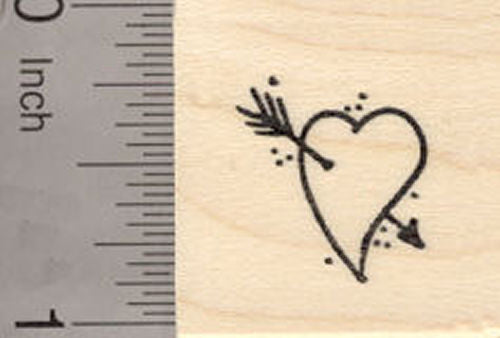 Small Valentine's Day Heart with Arrow Rubber Stamp