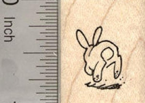 Tiny Bunny Rabbit Hopping Away Rubber Stamp