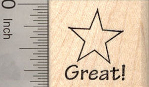 Teacher Rubber Stamp with Star, Great!