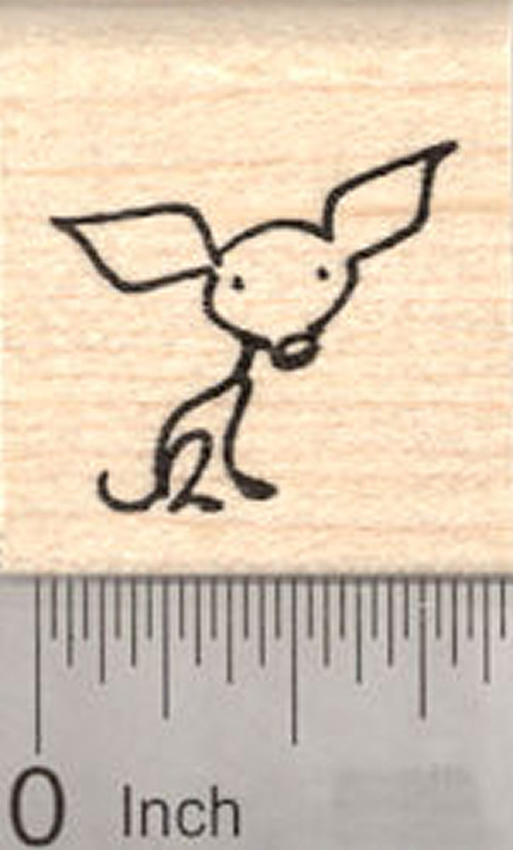 Chihuahua Rubber Stamp, Stick Figure Dog