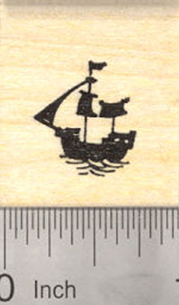 Tiny Ship Rubber Stamp, Sailing Silhouette, Galleon
