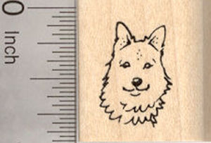 Small Icelandic Sheepdog Dog Face Rubber Stamp