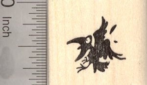 Bird in Flight Rubber Stamp, Crow, Silhouette, Black Bird
