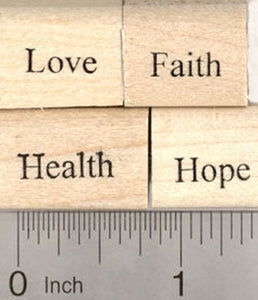 4 Piece Blessings Rubber Stamp Set: Love, Faith, Health, and Hope