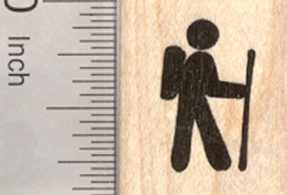 Small Hiking Rubber Stamp, Logo or Symbol