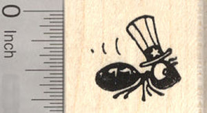 4th of July Ant Rubber Stamp, in American Uncle Sam Hat