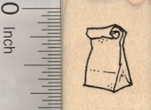 Tiny Sack Lunch Rubber Stamp, Back to School Series