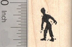 Tiny Halloween Zombie Rubber Stamp, Silhouette