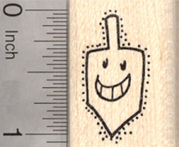 Hanukkah Dreidel Rubber Stamp, Chanukah, Smiling Jewish Holiday Toy