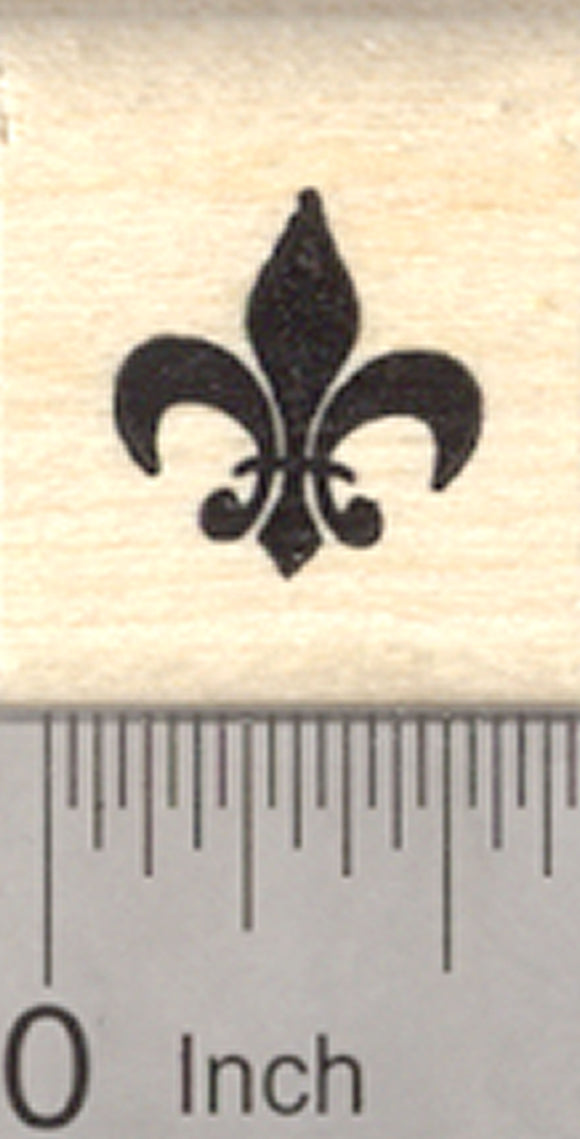 Fleur De Lis Rubber Stamp, French Iris Flower, Symbol of France, Small