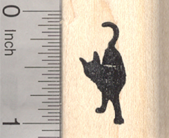 Black Cat Rubber Stamp, Small, Looking back