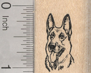 German Shepherd Dog Rubber Stamp, Small