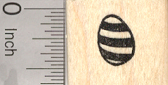 Tiny Easter Egg Rubber Stamp, Decorated with Stripes