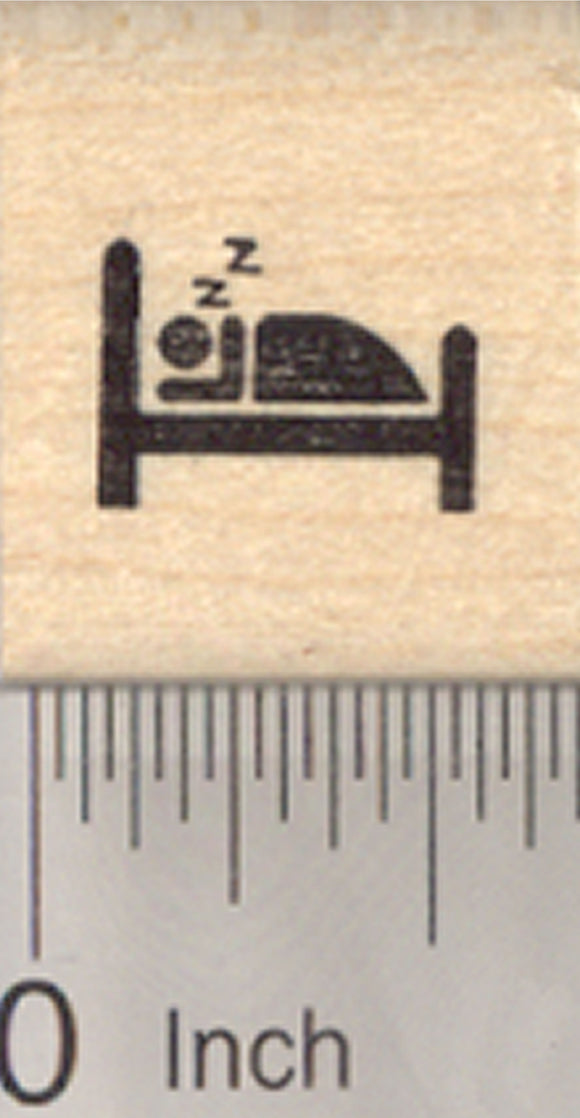 Tiny Sleep Rubber Stamp, .5 inch long, Keep a Sleep Log